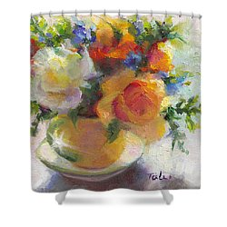 Fresh - Roses In Teacup Shower Curtain