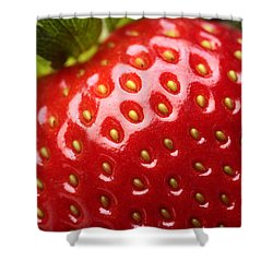 Fresh Strawberry Close-up Shower Curtain by Johan Swanepoel
