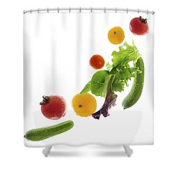 Fresh Vegetables Flying Shower Curtain by Elena Elisseeva