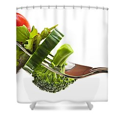 Fresh Vegetables On A Fork Shower Curtain