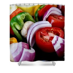 Fresh Veggie Kabobs On The Grill Shower Curtain
