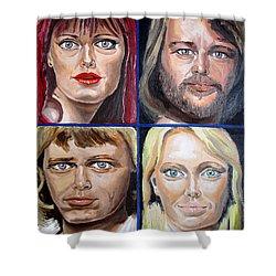 Shower Curtain featuring the painting Frida Benny Bjorn Agnetha by Daniel Janda