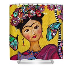 Frida Kahlo And Her Cat Shower Curtain by Pristine Cartera Turkus