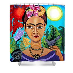Frida Kahlo With Monkey And Bird Shower Curtain by Genevieve Esson