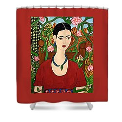 Frida With Vines Shower Curtain