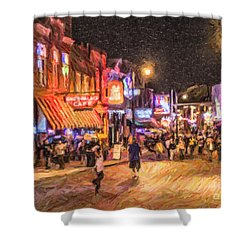 Friday Night On Beale Shower Curtain by Liz Leyden
