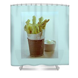Fried Asparagus Shower Curtain by Romulo Yanes