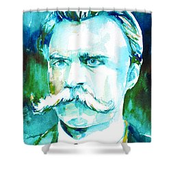 Friedrich Nietzsche Watercolor Portrait.1 Shower Curtain by Fabrizio Cassetta