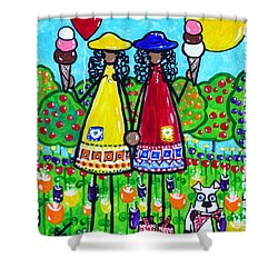 Friends Shower Curtain by Jackie Carpenter