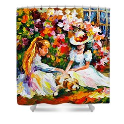 Friends With A Dog Shower Curtain by Leonid Afremov