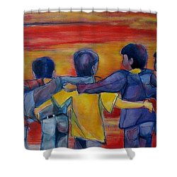 Friendship Walk - Children Shower Curtain