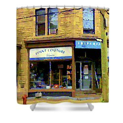 Friperie Point Couture Psc Rue Charlevoix South West Montreal Street Scene Art Carole Spandau Shower Curtain by Carole Spandau