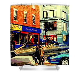 Friperie St.laurent Clothing Variety Dress Shop Downtown Corner Store City Scene Montreal Art Shower Curtain by Carole Spandau