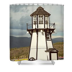 Frisco Bay Marina Lighthouse Shower Curtain by Juli Scalzi