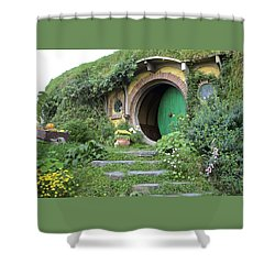 Frodo Baggins Lives Here Shower Curtain by Venetia Featherstone-Witty