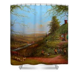 Frodo's Inheritance Bag End Shower Curtain by Joe  Gilronan