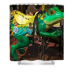 Frog Carrousel Ride Shower Curtain by Garry Gay