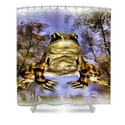 Shower Curtain featuring the digital art Frog by Daniel Janda