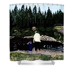 Shower Curtain featuring the painting Frog Hunting With Poppy by Barbara Griffin