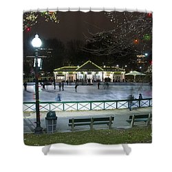 Frog Pond Ice Skating Rink In Boston Commons Shower Curtain