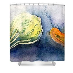 Froggy And Gourds Shower Curtain by Yoshiko Mishina