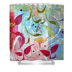 Shower Curtain featuring the painting Frolic by Robin Maria Pedrero