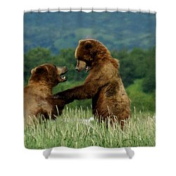 Frolicking Grizzly Bears Shower Curtain by Patricia Twardzik
