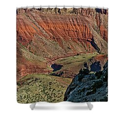 Shower Curtain featuring the photograph From Yaki Point 5 Grand Canyon by Bob and Nadine Johnston