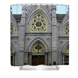 Shower Curtain featuring the photograph Front Of Church by Gena Weiser
