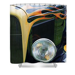 Shower Curtain featuring the photograph Front Of Hot Rod Car by Gunter Nezhoda