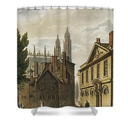 Front Of Trinity Hall, Cambridge Shower Curtain by Augustus Charles Pugin