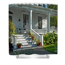 Front Porch In Summer Shower Curtain by Desiree Paquette