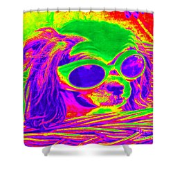 Front Seat Driver Pop Art - Puppy Mania Shower Curtain