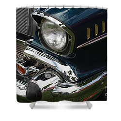 Front Side Of A Classic Car Shower Curtain