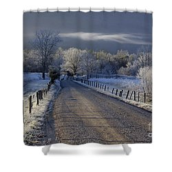 Frosty Cades Cove Hdr Shower Curtain by Douglas Stucky