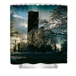 Frosty Sunrise At Tower Park Shower Curtain