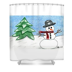 Frostyland Shower Curtain by Lisa Ullrich