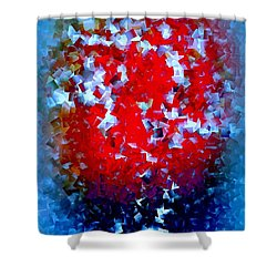 Shower Curtain featuring the digital art Frozen Apple by Greg Moores