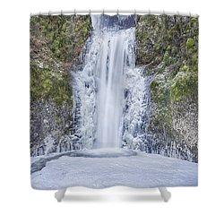 Frozen At Multnomah Falls Shower Curtain by David Gn