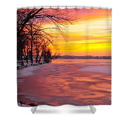 Shower Curtain featuring the photograph Frozen Dawn At Lake Cadillac  by Terri Gostola
