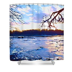 Frozen Delaware River Sunset Shower Curtain by Robyn King