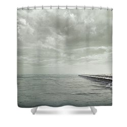 Frozen Jetty Shower Curtain by Scott Norris