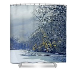 Shower Curtain featuring the photograph Frozen Pond by John Rivera