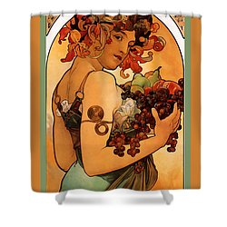 Fruit Shower Curtain by Alphonse Maria Mucha