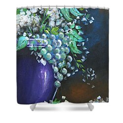 Shower Curtain featuring the painting Fruit And Flowers Still Life by Patrice Torrillo