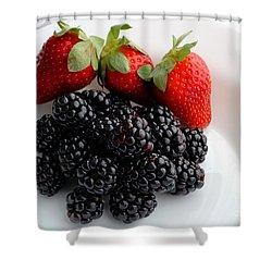 Fruit IIi - Strawberries - Blackberries Shower Curtain by Barbara Griffin