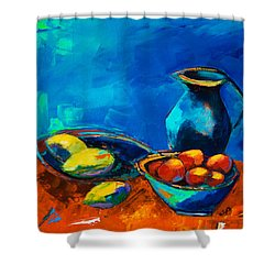 Shower Curtain featuring the painting Fruit Palette by Elise Palmigiani