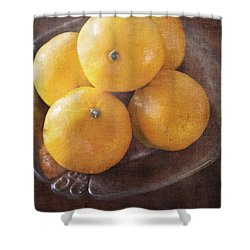 Fruit Still Life Oranges And Antique Silver Shower Curtain