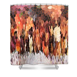 Fruity Tea With Bamboo Leaves Stained Glass Shower Curtain by Ausra Huntington nee Paulauskaite