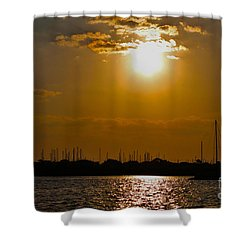 Shower Curtain featuring the photograph Ft. Pierce Florida Docks At Dusk by Janice Rae Pariza